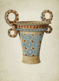 Drawing of a polychrome pot from a tomb at Isopata near Knossos.