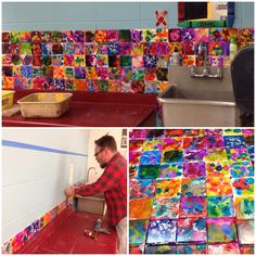 Alcohol Ink tiles as a backsplash! Great idea for an art room!! Students create an alcohol ink tile.