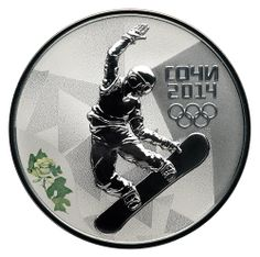 """Snowboard"" - A Russian coin customized for the #Sochi2014 Winter #Olympics."