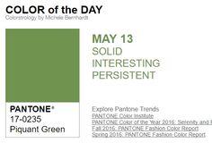 ...y el color de hoy es Verde Picante, un color sólido, interesante, persistente. Más info en http://www.pyma.com/tutoriales-y-trucos/y-los-colores-pantone-de-esta-semana-sonsemana-del-9-al-15-de-mayo/