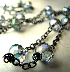 Blue Green Peacock Crystal Necklace Crystal by BellinaCreations, $90.00