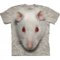 Absolutely cool 'Big Face White Rat T-Shirt' will always keep you in a good…