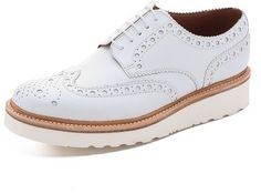 White Leather Brogues by Grenson. Buy for $490 from East Dane