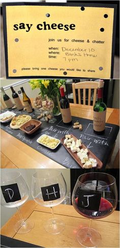 Use a chalkboard to show guests wine and food pairings.