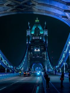 Tower Bridge at Night, London. Amazing, looks like something out of a neo-noir sci-fi. #LondonLandmarks #TowerBridge #LondonTravel