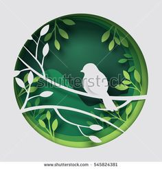 Paper art carve to bird on tree branch in forest at night, origami concept nature and animals idea, vector art and illustration; compre este vectores en stock en Shutterstock y encuentre otras imágenes. Origami Paper Folding, Origami Bird, Origami Easy, Paper Wall Art, Paper Artwork, Diy Paper, Paper Crafts, Cut Out Art, Tree Illustration