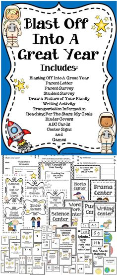 Blast Off To A Great Year - This BACK TO SCHOOL activity book has a wide variety of resources for elementary students. It includes student surveys, parent letter, center signs, binder labels, games and so much more! Over 117 pages included in this precious resource! #backtoschool #classroom #games