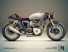 Triumph Bonneville Cafe Racer - black fuselage with white lettering of triumph a green clover on one side