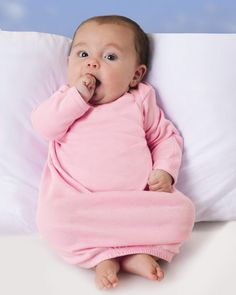 Comfy cozy baby wear with fold-over mitten cuffs to keep little hands warm.
