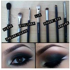 brushes for eye make up - easy visual guide.