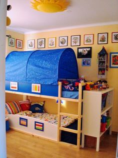 Toddler bunk beds the top bed is from ikea I think is as big as a toddler bed or a little bit longer, I might just try this idea since my 3 year old dies for a bunk bed and this bed is not as high as a regular bunk bed,Genius!