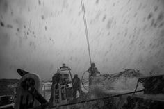 March 29, 2015. Leg 5 to Itajai onboard MAPFRE. Day 11. Black Spray, tons of water on deck, this is my artistic way to show it Francisco Vignale / MAPFRE / Volvo Ocean Race