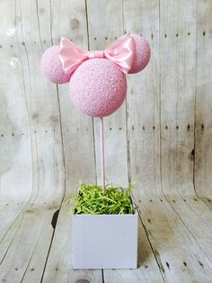 """4"""" Baby Pink HEAD ONLY with 2.5"""" ears baby pink solid bow. Custom Pink Minnie Mouse children's birthday party centerpiece Topiary"""