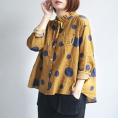 Polka Dots Printed Tie-neck Ruffled A-line Linen Top Sewing Clothes Women, Dress Clothes For Women, Dots Fashion, Fashion Outfits, Fashion Design, Polka Dot Blouse, Polka Dots, Sewing Blouses, Blazer