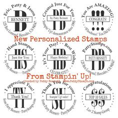 New custom photopolymer personalized stamps are super fun to design! by Patty Bennett