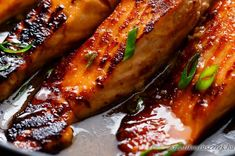 Crispy Honey Orange Glazed Salmon fillets are pan-fried in the most beautiful honey-orange-garlic sauce, with a splash of soy for added flavour! Healthy Chicken Recipes, Seafood Recipes, Cooking Recipes, Seafood Dishes, Fish Recipes, Dinner Recipes, Pan Seared Salmon, Baked Salmon, Salmon In Foil Recipes