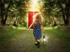Picture of A little child is walking in the woods holding a light and looking at a glowing red door on the path for a mystery or imagination concept. stock photo, images and stock photography. Karen Young, Stop Worrying, Secret Rooms, Courage, Walk In The Woods, Spirit Guides, Bad Habits, Good People, My Girl