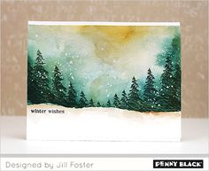Watercoloured Christmas cards, trees are stamped and snowlakes drops of acrylic paint.