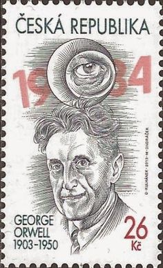 George Orwell. Animal farm. Satire of the Russian revolution. Book author stamp