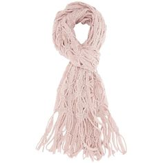 Charlotte Russe Pale Mauve Open Knit Fringe Wrap Scarf by Charlotte... ($15) ❤ liked on Polyvore featuring accessories, scarves, pale mauve, knit scarves, patterned scarves, print scarves, knit shawl and fringed shawls