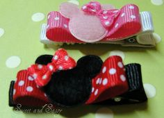 Padded Mouse Hair Clippies Infants  Girls by jmkraige on Etsy, $3.00