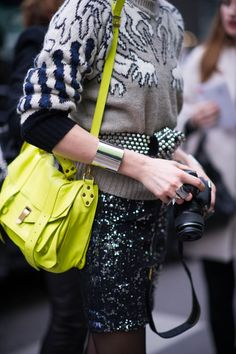 Neon yellow Proenza Schouler PS1, yes please. wantering.com