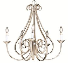 """View the Kichler 2021 Dover Single-Tier Candle-Style Chandelier with 5 Lights - 72"""" Chain Included - 26 Inches Wide at LightingDirect.com."""