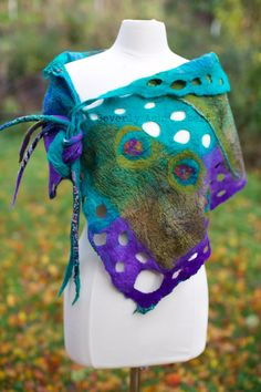 Teal and Olive Butterfly Shawl, nuno felt, Teal, Olive, Purple, handcrafted, silk, wool, one of a kind, fashion, accessory, 2 sided