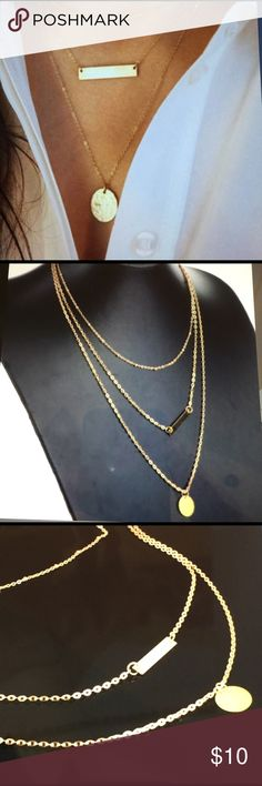 "Trendy fashion necklace. 3 in 1 Gold Costume jewelry made out of alloy and finished in gold color. Measuring approximately 13""L from last extension link to bottom of necklace. Jewelry Necklaces"