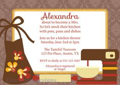 Kitchen Shower Invitation in Fall Colors #kitchenshower #bridalshower