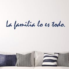 This Spanish La Familia wall quote translates to family is everything. Select the size and color that best fits your needs. **Keep in mind sizes are close approximations.** Bring your walls to life wi