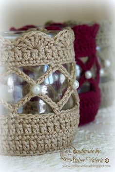 Crochet Votive Cover pattern by NW Nature Nut Crochet Gifts, Diy Crochet, Crochet Ideas, Crochet Jar Covers, Crochet Home Decor, Crochet Decoration, Crochet Kitchen, Yarn Crafts, Crochet Projects