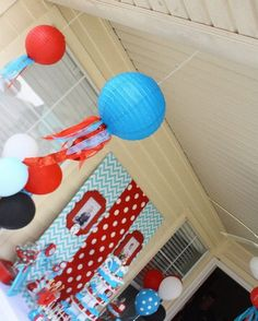 Dr. Seuss Thing 1 and Thing 2 1st Birthday Party for Twins - Twin - Red and Aqua Blue - Chevron & Polka Dots - centerpiece decorations - decor ideas - hanging decor - paper lanterns
