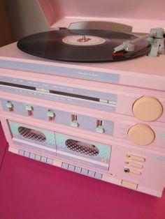 Tourne disque rose