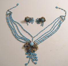 Vintage Miriam Haskell Blue Art Glass Runway Bib 10 Strand Necklace Earrings Set | eBay