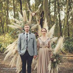 Where we said our I Do's #woodlandswedding #nudeweddingdress #pampas #arch #scandi