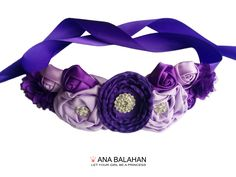 """What is your wedding's color scheme? So many beautiful colors, so hard to choose. """"FANTASY"""" set of sash and headband comes in 5 basic colors: white, ivory, pink, purple and grey. Choose your favorite one."""