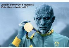 If you haven't seen Sunday's episode of #GameofThrones yet I doubt you're concerned with spoilers. Pretty sure I've waited long enough. I've had this waiting to post since about 10:02pm EST. I kinda love it that the internet wastes absolutely no time at all! #NightKing #JavelinThrow #GoldMedal #GoTs7 #