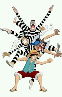 Luffy, Buggy, Mr.2 and Mr.3 breaking out of Impel Down!