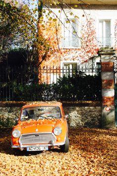 Mini orange et feuilles d'automne oranges ! Atmosphère orange - été indien - octobre novembre à Paris photo credit www.lescolsroses.com