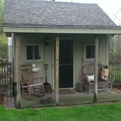 garden shed - I like the little porch sitting area.  Nice place to relax after yard work