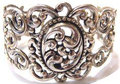 Vintage Filigree DANECRAFT Sterling Silver 925 Wide Cuff Bracelet Signed Scrolly #Danecraft #Cuff