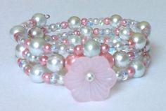 Pink & Silver Pearl Bracelet, Flower Bracelet, Memory Wire Bracelet, Cuff Bracelet, Wrap Bracelet, Layered Bracelet, Beaded Wire Bracelet by CreationsByLacieK on Etsy