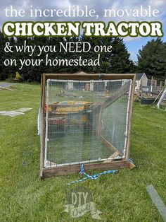 Using a chicken tractor for pastured poultry is a GAME CHANGER. You use less bedding, they have access to fresh grass, they fertilize your lawn (and mow), and they're still safe from predators. Learn more. Raising Farm Animals, Feed Bags, Chicken Tractors, Factory Farming, Chicken Runs, Can Run, Meat Chickens, Alternative Energy, Game Changer