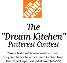 """1) In order to enter, you must log in to Pinterest and follow Harper's BAZAAR and The Home Depot.  2) Create your own """"My Dream Kitchen"""" board and pin your fashionable must-haves.  3) Fill out the form on this page, being sure to include the URL of your board."""
