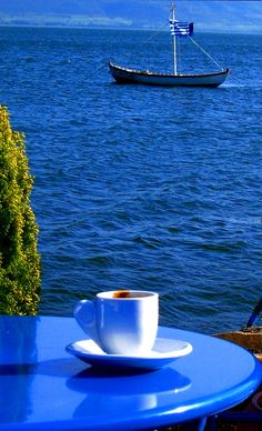 Seaside coffee in Greece