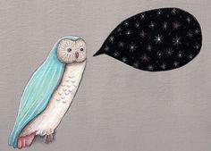 Nighttiming Starry Owl Print by TheBlackSheepStudio on Etsy, $18.00