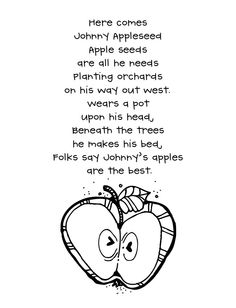 Here Comes Johnny Appleseed Poem... The version we use in kindergarten is slightly different (orchards - trees and beneath - under).
