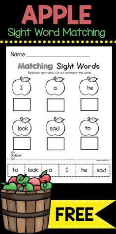 SIGHT WORD freebie - cut and paste worksheet to read and match sight words - FREE WORKSHEET for kindergarten and back to school Free Kindergarten Worksheets, Kindergarten First Day, Teaching Kindergarten, Reading Worksheets, Teaching Tips, Kindergarten Sight Words, Apple Activities Kindergarten, Kindergarten Apples, Journeys Kindergarten