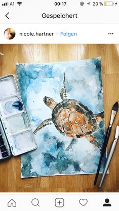 einfache Aquarellmalerei Schildkröte - Host - desiree The Effective Pictures We Offer Y Painting Prints, Painting & Drawing, Painting Tools, Water Drawing, Painting Tutorials, Painting Videos, Art Sketches, Art Drawings, Arte Sketchbook